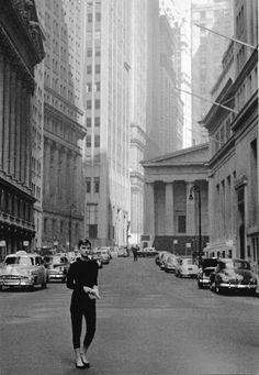 Dennis Stock: Audrey Hepburn near Wall Street during the filming of Sabrina, 1954.