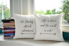 Lets Be Adventurers Throw Pillows - Perfect for anyone who loves to travel! These quote pillow covers are a great reminder to explore the world and share it with the one you love. Save for later OR click through to our website to browse many more travel designs!