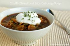 Crock Pot Sweet and Sour Cabbage Soup, meatless yet hearty, easy and delicious, 78 calories and 2 Weight Watchers Points Plus, Simply Filling