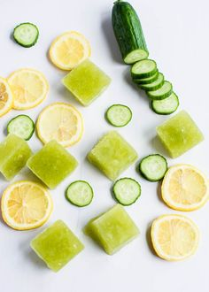 Turn the classic spa favorite into ice cubes! Puree 2 small or 1 large cucumber and add the juice of 1 lemon and freeze in an ice cube tray....
