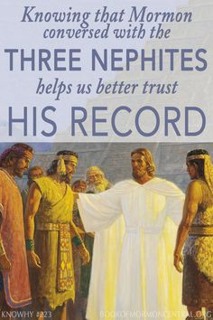 The account of the Three Nephites who were granted to continue living until Christ's second coming has captivated many. Although we do not know much about them now, we can learn a lot from what they might have said to Mormon and Moroni, prophets who lived 400 years after the account. https://knowhy.bookofmormoncentral.org/content/why-was-the-3-nephites-wish-helpful-for-mormon-and-moroni #BookofMormon #ShareGoodness #ThreeNephites #LDS #Mormon #Immortality #Christ