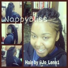 Cornrows with Marley Twists Mohawk styled at NappyBliss Natural Hair Salon in Desoto, Tx. Text 469-939-3764 for your free consult & appointment.