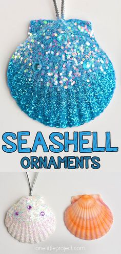 These glitter seashell ornaments are SO PRETTY! This is a great beach craft and a super pretty way to make handmade Christmas ornaments. Hang them on the Christmas tree or keep them as a year round keepsake decoration! A great craft for kids, teens, tweens, adults and seniors. Seashell Christmas Ornaments, Handmade Christmas, Christmas Crafts, Christmas Tree, Diy Ornaments, Christmas Ideas, Xmas, Crafts For Seniors, Easy Crafts For Kids