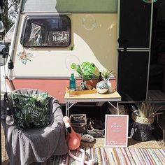 Mona Monza Caravan (@mona_monzacaravan) • Instagram photos and videos Caravan Makeover, Caravan Renovation, Slow Living, Small Living, Diy Caravan, Outdoor Living, Outdoor Decor, The Dunes, Van Life