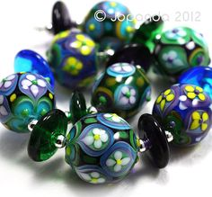 Sitapur Round Flower Patern Lampwork Beads 15 by by Jopanda, $169.00