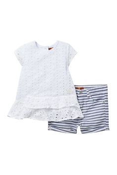 96abfa36a8b Image of 7 For All Mankind Eyelet Top   Stripe Shorts Set (Toddler Girls)