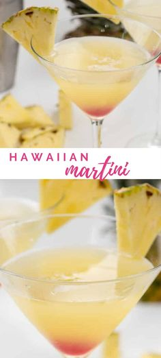 Have a Hawaiian Martini to feel like you're at the beach! This martini recipe has all the flavors of Hawaii: pineapple, orange, and coconut! Wine Cocktails, Summer Cocktails, Cocktail Drinks, Cocktail Recipes, Alcoholic Drinks, Bourbon Drinks, Beverages, Pineapple Martini Recipes, Jars