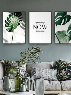 Items similar to Nordic Canvas Painting Modern Prints Plant Leaf Art Posters Prints Green Art Wall Pictures Living Room Unframed Poster on Etsy