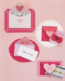 Embellished Envelope Valentine Cards from Martha Stewart  ..... Easy Valentine's Ideas for Kids (or the Crafting Clueless)