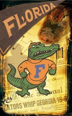 Florida Gator Wall Art florida gators wall art prints () - blue orange green gator decor