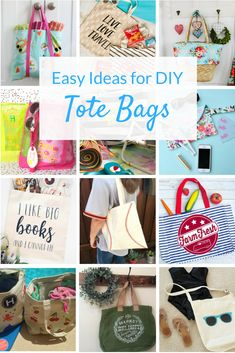 Diy Tote Bag Ideas Youll Love Check Out These Tutorials For Easy Canvas Totes You Can Personalize With Paint, Vinyl And More Perfect For Summertime Decor Crafts, Fun Crafts, Crafts For Kids, Lila Sofa, Diy Tote Bag, Tote Bags, Diy Bags, Craft Projects, Sewing Projects
