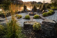 This beautiful patio combines the best of the Roman Paver and the Grand Mesa Flagstone to create a magical backyard paradise. Backyard Paradise, Flagstone, Roman, Deck, Landscape, Outdoor Decor, Beautiful, Create, Courtyards