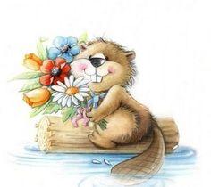 Beaver Drawing, Baby Beaver, Wood Badge, Hedgehog Art, Creation Photo, Cute Paintings, Rabbit Art, Rock Painting Designs, Cute Animal Pictures