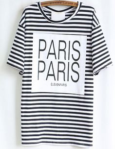 Black Striped PARIS Print T-shirt US$22.50