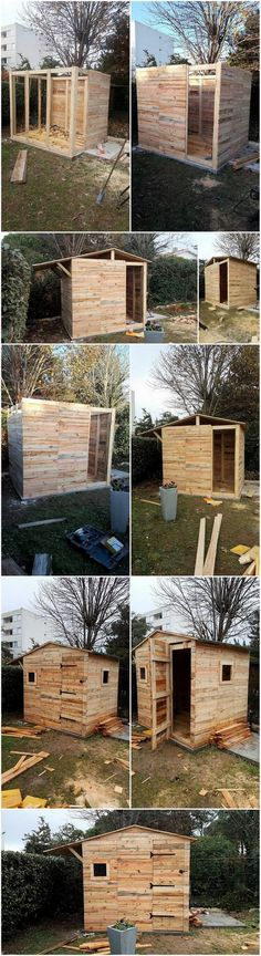DIY Wood Pallet Garden Shed House Cabin Step by Step Plan
