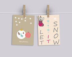 Cartoline natale / Auguri feste / Cards natale / printable di MyHoneyMoons su Etsy