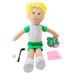 "Winner of Oppenheim Toy Portfolio gold seal award & WTS Toy Review 5 star rating. Go! Go! Sports Girl - Golfer Girl - Brooke. Encourages girls to be healthy through sports and physical activity. Brown eyes, blonde hair in a pony tail, embroidered face and secret tummy message which reads ""Dream Big Tee It Up"", 14"" Includes pink backpack, golf club, golf ball and towel. 5% of profits is donated to Girls Inc, a national nonprofit dedicated to inspiring all girls to be strong, smart, and bold."