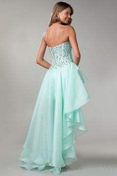 High Low Dresses Rhinestone Beaded Bodice A Line Mint New Arrival! Wish i could pull off a high low!