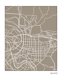 Taipei City Line Art Print / Taiwan Map Art Poster / Giclee Print / Choose your color Abstract Line Art, Taipei, Map Art, Art Lessons, Giclee Print, Custom Design, Graphic Design, Art Prints, Poster
