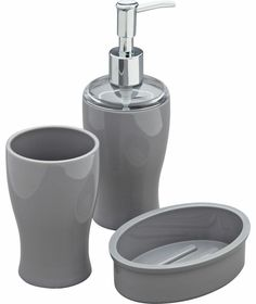 Colourmatch bin and brush set smoke grey at homebase for Bathroom accessories argos
