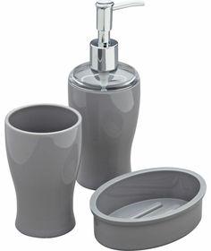 Colourmatch bin and brush set smoke grey at homebase for Bathroom accessories argos