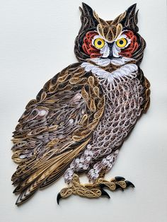 Quilled Great Horned Owl  #quilling #owl #wisdom #bird