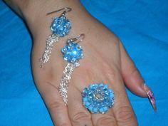 anello abbinato ad orecchini tutto in swarovski di colore turchese!!