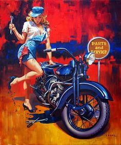 """Fix er up!"" Delightful Harley Davidson pin-up by artist David Uhl. Uhl Studios creates many of the artworks and T-shirt designs for Harley-Davidson's conventions. Motorcycle Posters, Motorcycle Art, Bike Art, Classic Motorcycle, Cruiser Motorcycle, Pinup Art, Photo Vintage, Vintage Pins, Art Moto"