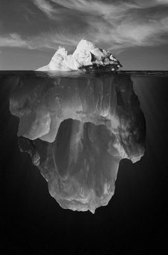SO MUCH of life goes on beneath the surface .... everyone knows this, but isn't it interesting & telling that only a few will admit or acknowledge all that goes on beneath the surface ..... Iceberg Black and White Photography