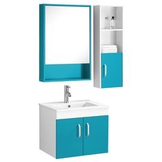 Beaumont Basin, Under Sink Cabinet, Mirrored Cabinet and Side Cabinet Set, Turquoise