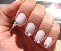 Pink nails with silver tips nails pink nail silver pretty nails nail art manicure nail ideas nail designs Get Nails, Love Nails, Hair And Nails, Gorgeous Nails, Amazing Nails, Fabulous Nails, Metallic Nails, Matte Nails, Silver Nails