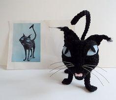 "Coraline ""Cat"" Halloween Black Cat Free Crochet Pattern ~ Amigurumi To Go Halloween Crochet, Holiday Crochet, Halloween Cat, Crochet Patterns Amigurumi, Crochet Dolls, Amigurumi Toys, Knit Patterns, Coraline Cat, Cat Pattern"