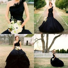 I think this black wedding dress is gorgeous! Via Once Wed http://www.oncewed.com/26164/wedding-blog/flowers-in-her-hair-ii/