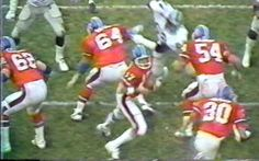 Formation: Left guard TOM GLASSIC (62), center BILLY BRYAN (64), quarterback MATT ROBINSON (17), right guard KEITH BISHOP (54) and running back JIM JENSEN (30)--December 14, 1980