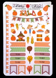 New, Fall Set small, Fits Erin Condren, Planner Stickers, Kiss Cut, Calender Stickers, Life Planner Stickers, Scrapbooking by LillyTop on Etsy