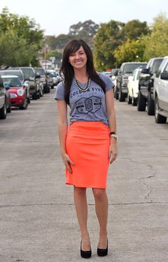 Casual shirt with pencil skirt