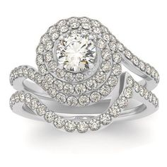Allurez Diamond Double Halo Engagement Ring & Wedding Band 14k W. Gold... ($3,000) ❤ liked on Polyvore featuring jewelry, rings, pave engagement rings, yellow gold engagement rings, yellow gold diamond rings, 14k gold ring and 14k diamond ring
