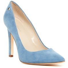 Calvin Klein Brady Suede Pointed Toe Pump - Wide Width Available ($60) ❤ liked on Polyvore featuring shoes, pumps, faded denim, suede pointy toe pumps, calvin klein shoes, high heel pumps, studded shoes and studded high heel pumps