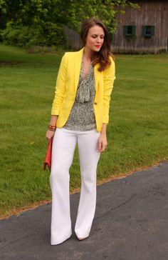 Yellow Blazer ||White Pants || Accessories