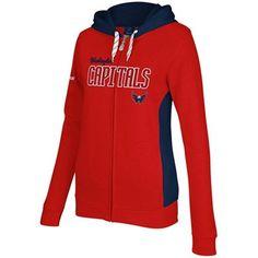 Reebok Washington Capitals Ladies Core Full Zip Hoodie - Red/Navy Blue