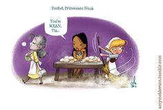 Pocket Princesses by Amy Mebberson  # 34- If Disney princesses lived together: Tiana, Pocahontas, and Cinderella