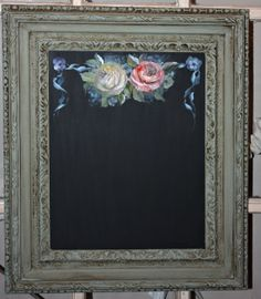 "Vintage Framed Chalkboard, Antique Green, Floral painting, handpainted, upcycled.   16"" X 19"""