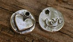 TWO  Tiny Artisan Handcrafted Round LOVE and Heart by cathydailey, $8.09