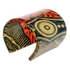 Bold cuff made from African print. Love it!