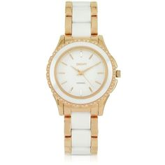 DKNY Women's Watches Brooklyn White Ceramic and Rose Golden Stainless... ($265) ❤ liked on Polyvore featuring jewelry, watches, bracelets, white, women's watches, rose watches, rose jewelry, white wrist watch, ceramic watches and white ceramic watches