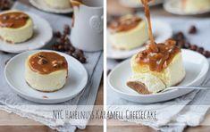 Grundrezept für cremigen New York Cheesecake und dazu zwei Saucen: Himbeer Sauce und Haselnuss Karamell
