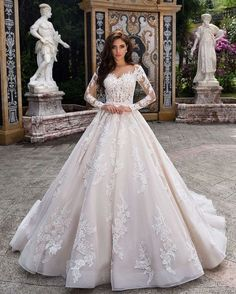 Ball gown long sleeve wedding dress, Long Sleeved Wedding Dresses For Autumn and Winter,long sleeve wedding dress,winter wedding dress,lace wedding dress