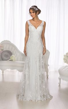 Elegant, sheath Lace and Lavish Satin wedding gown from the Essense of Australia designer collection features a vintage-inspired Lace overlay. Wedding Dress Necklace, V Neck Wedding Dress, Wedding Attire, Wedding Gowns, Wedding Dressses, Backless Wedding, Modest Wedding, Essense Of Australia Wedding Dresses, Bridal Dresses