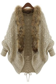 Open Front Cable Cardigan