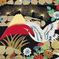 Mount Fuji and Cranes  Japanese Kimono cotton by AtelierLiaSan